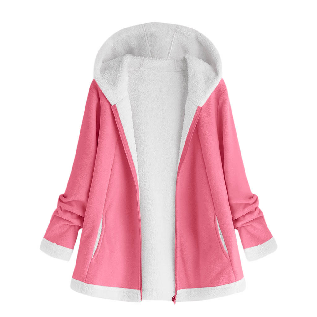 H13058ea6908d4867af6cfd8852f227dbV women's autumn jacket Winter warm solid Plush Hoodie Coat Fashion Pocket Zipper Long Sleeves outwear manteau femme plus size 5XL