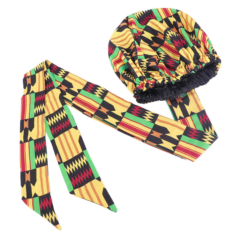 Linned-Bonnet Headscarf Hair-Cover Satin Long-Ribbon Double-Layer African-Pattern Women