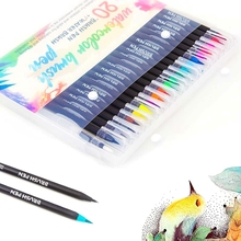 20 Colors Art Marker Watercolor Brush Pens for School Supplies Stationery Drawing Coloring Books Manga Calligraphy недорого