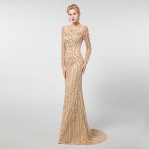 Image 3 - YQLNNE altın uzun kollu abiye Mermaid tül kristaller boncuk Pageant elbise Robe De Soiree