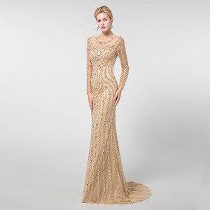 Image 3 - YQLNNE złote suknie wieczorowe z długim rękawem syrenka tiul kryształy frezowanie suknia na konkurs piękności Robe De Soiree