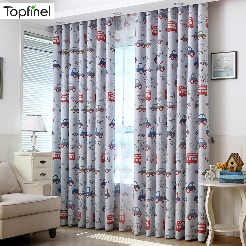 Topfinel Cartoon Car Blackout Curtains For Kids Bedroom Beautiful Boys Girls Room Drapes Ready Made Window Treatment Drapes