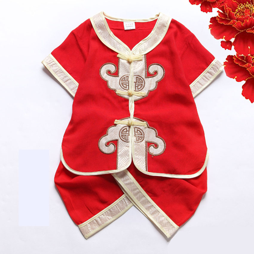 Children Girls Chinese Traditional Costumes Clothing Set Spring Festival Lock Birthday Party Wear Newborn Baby Kids Boys Clothes