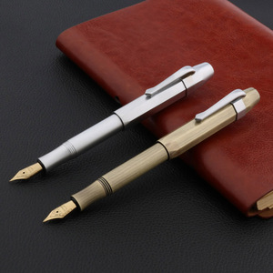 OFFICE pocket Octagon brass pen METAL matte golden silver gift Trim Fountain Pen(China)