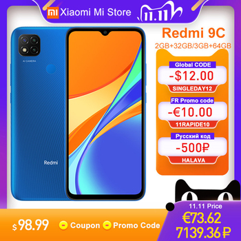 Global Version Xiaomi Redmi 9C Mobile Phone 3GB RAM 64GB ROM 13MP Triple Camera MTK Helio G35 5000mAh Battery 9C