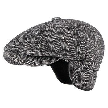 HT3336 Autumn Winter Cap Hat Thick Warm Men Beret Male Vintage Wool Dad Grandfather Ivy Octagonal Newsboy Flat