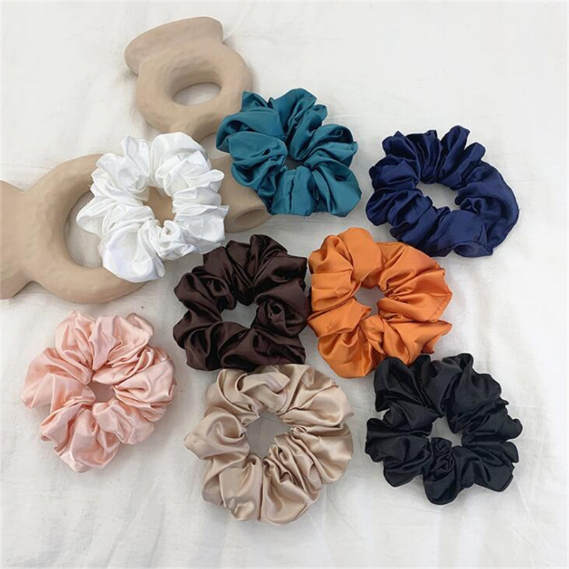NEW Style Big Round Elastic Hair Band Scrunchies For Women Girls Stain Fashion Soft Large Vintage Headwear Hair Accessories