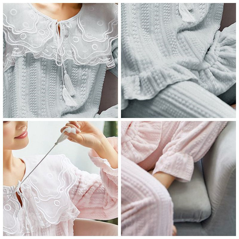 JULY'S SONG Flannel Women Pajama Sets Sleepwear Air Cotton Winter Pajamas Thick Warm Lace Long Sleeves Full Trousers Homewear 31