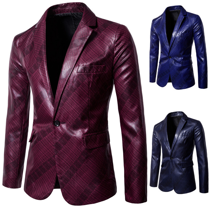 Mens Blazer Suit Leather Jacket Casual Men Blazer Fashion Performance PU Slim England Suit Blazer Masculino Male Jacket DT1826