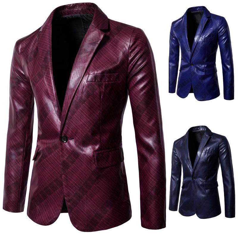 Mens Blazer Suit Leather Jacket Casual Men Blazer Fashion Performance PU Slim England Suit Blazer Masculino Male Jacket DT1826