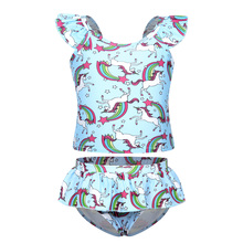 AmzBarley Little girls swimsuit summer clothes set Cartoon Unicorn Tops ruffle pants Set Toddler 2 pcs flower swimwear