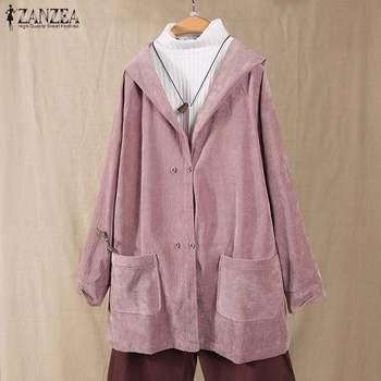 ZANZEA Women Corduroy Coats Vintage Hoodies Jackets Long Sleeve Solid Loose Outwear Female Hooded Sweatshirt Coats Plus Size Top