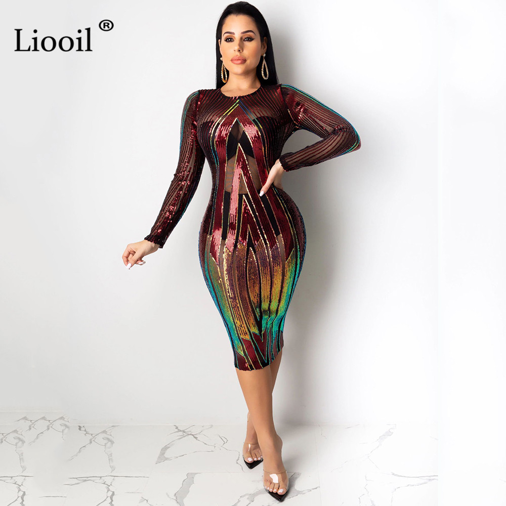 Liooil Sequin Print Sexy Mesh Bodycon Midi Dress Women 2019 Long Sleeve O Neck See Through Night Club Party Tight Fitted Dresses