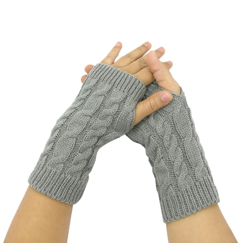 Women Warm Gloves Autumn And Winter Unisex Half Finger Twist Gloves Warm Cold Short Wool Gloves Coffee S1 New