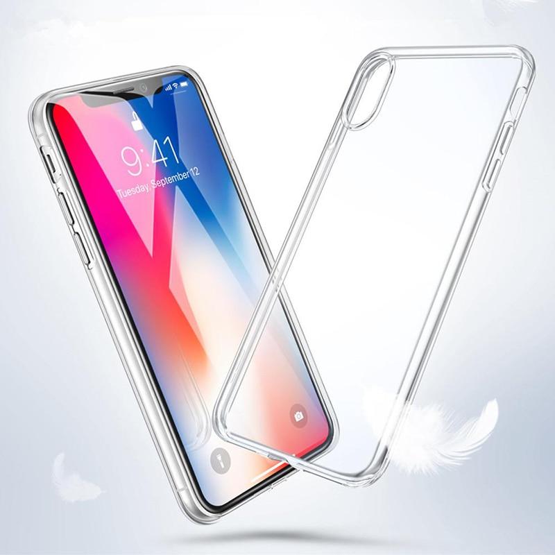 Rsionch Limpar Silicone Suave TPU Caso para iPhone11 Pro Max X XS XR XS Max Caso de Telefone Transparente para iPhone 11Pro 6 7 8 6S Plus 5