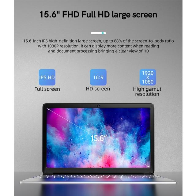KUU A8S 15.6 inch Student Laptop 6GB RAM 256GB SSD Notebook For intel J3455 Quad Core Ultrabook With Webcam Bluetooth WiFi 4