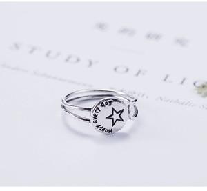 Image 5 - Acecare פשוט קטן טרי 925 כסף עגול אותיות כוכבים פתוח טבעת יפני וקוריאני אופנה מגמה אישית טבעת