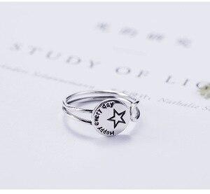 Image 5 - Acecare Eenvoudige en kleine verse 925 zilveren ronde belettering stars open ring Japanse en Koreaanse mode trend gepersonaliseerde ring