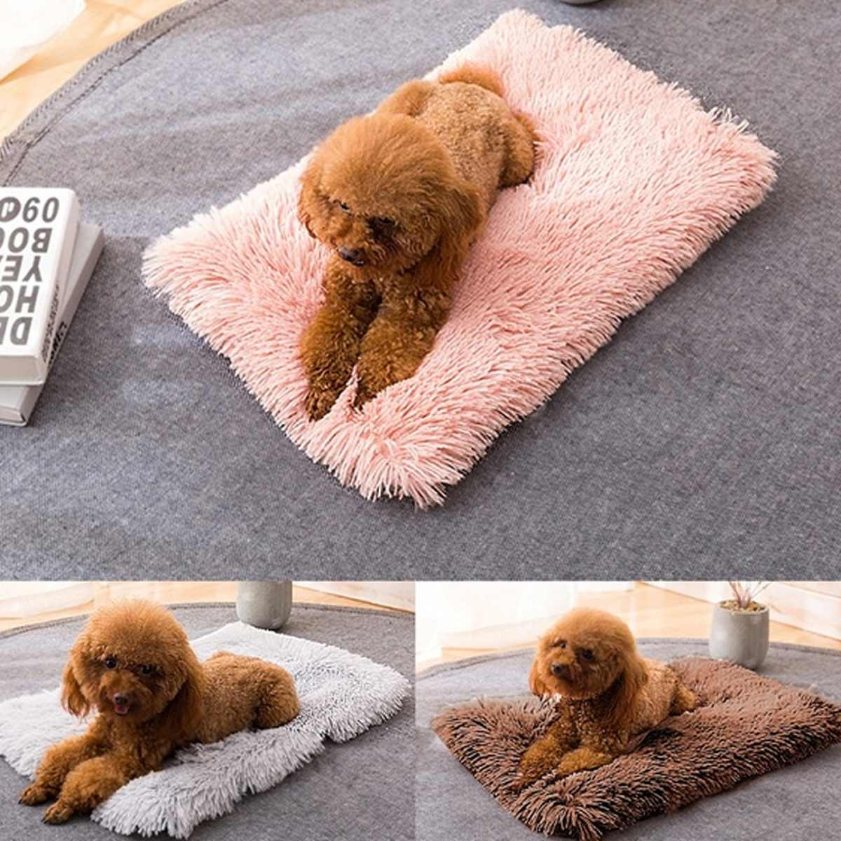 Fluffy Long Plush Pet Blankets Dog Cat Bed Mats Deep Sleeping Soft Thin Covers for Summer Winter Bed Use Blankets Cat Mattress,W,56X36Cm,China