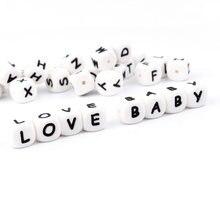 TYRY.HU 100Pc Kauen Silikon Perlen BPA-Freies 12mm Alphabet Brief Perlen Für Zahnen Baby Schnuller Kette Zubehör