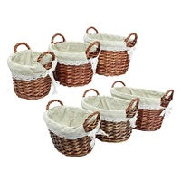 Round/Oval 3PCS/Set Storage Baskets Organizer Hand woven Willow Wicker Polyester Liner Storage Basket Lining Case Box Holder