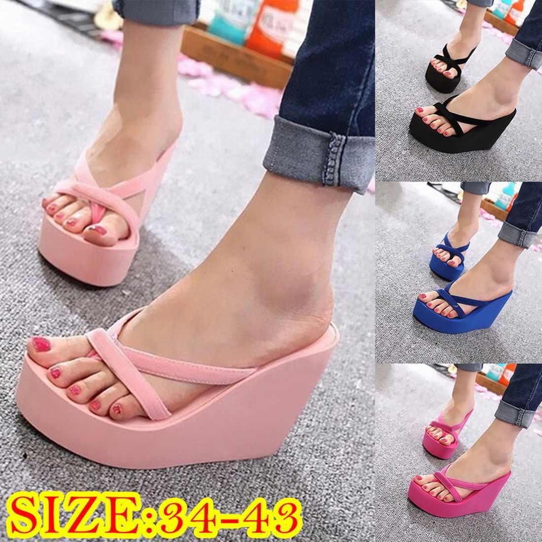 Kadın rahat Torridity ayakkabı takozlar terlik bayanlar topuklu açık Flip flop yaz ev plaj Slip-on platform sandaletler ayakkabı