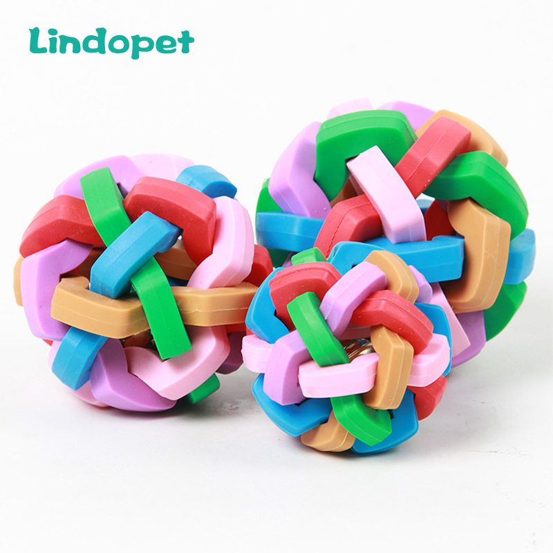 Cute Pet Dog Toys Interactive Ball Toy Cat Toy With Small Bell Rainbow  Pets Chewing Playing Fetching Nice Ba
