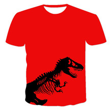 2021 summer European and American 3D digital printing men's Jurassic Park T-shirt everyday casual style short sleeve 100-6XL