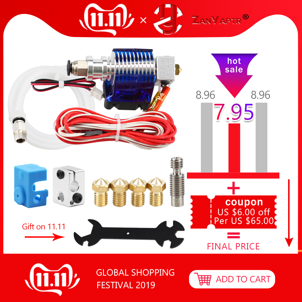 3D Printer J-head Hotend with Single Cooling Fan for 1.75mm/3.0mm 3D v6 bowden Filament Wade Extruder 0.2mm/0.3mm/0.4mm Nozzle