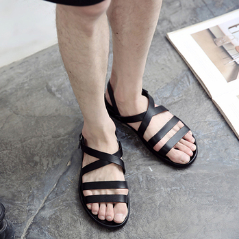 New Summer Sandals Men Leather Classic Roman Sandals 2020 Outdoor Beach Gladiator Men's Beach Leather Sandal Shoes, EU38-46! фото