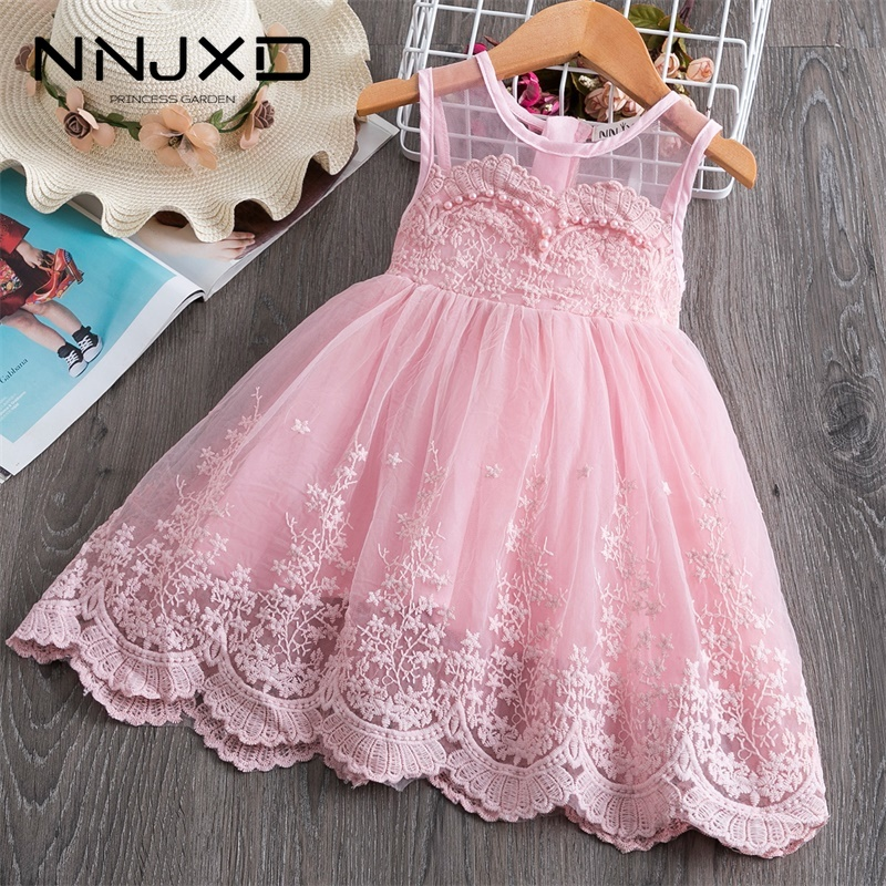 Summer 3-8Yrs Kids Dresses For Girls Lace Tulle Wedding Dress Floral Embroidery Beading Baby Girl Sweet Dress Party Vestidos