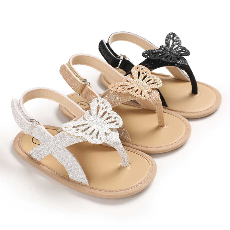 0-18M Infant Baby Girls Boys Sandals Shoes Bling Bling Butterfly Causal Summer Soft Sandals Shoes 3 Colors