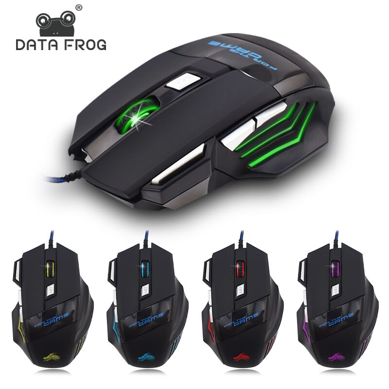 DATA FROG Wired USB Gaming Mouse For Overwatch 7 Buttons 5500DPI Mute Gamer Mice Gamer LED Optical Mouse For PC Computer Laptop image