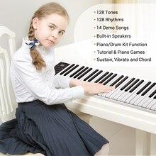 Clavier de Piano électronique numérique, 61 touches, sortie MIDI, 128 tons, 128 rythmes, 14 chansons de démonstration, enregistrement et lecture