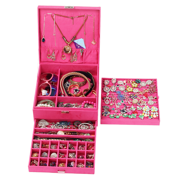 Queen Style 4 Color Luxury Practical Flannel Jewelry Box Fashion Jewelry Display Earrings Necklace Pendant Nobel
