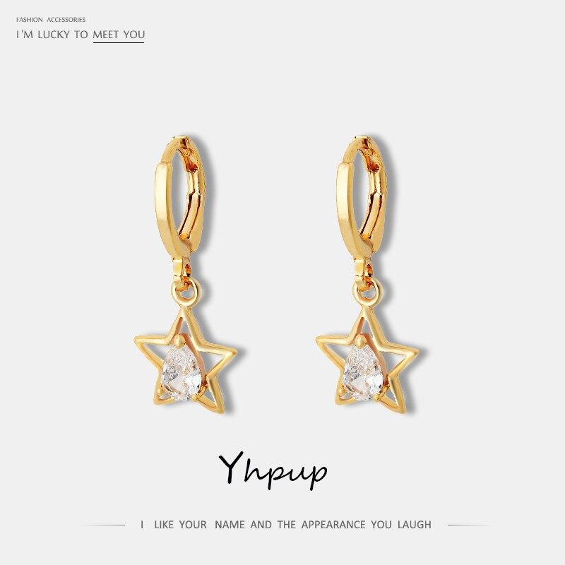 Yhpup Popular Korean Hollow Star Geometric Zircon Dangle Earrings Copper 16 k Statement Charm Earrings Brincos for Female Party
