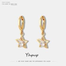 Yhpup Popular Korean Hollow Star Geometric Zircon Dangle Earrings Copper 16 k Statement Charm Brincos for Female Party