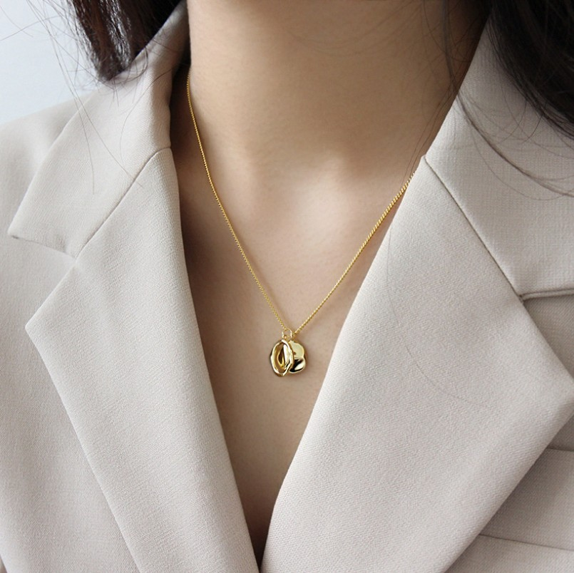 S925 Sterling Silver Gold Color Geometric Necklaces Pendants for Women Irregular Uneven Necklace Minimalist Jewelry in Pendant Necklaces from Jewelry Accessories