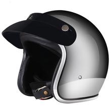 Vintage motorcycle helmet jet capacetes de motociclista sliver chrome vespa casc