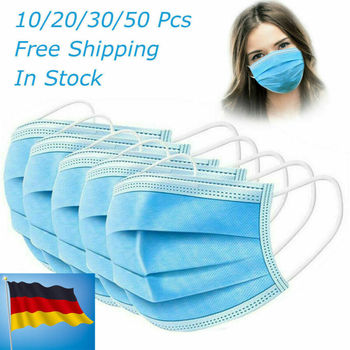 1/5/10/20/50pcs Wholesale Face Mask 3 Ply Disposable Anti-Bacteria Ear Loop Face Masks Anti-Virus Dust Mouth Mask Dropshipping