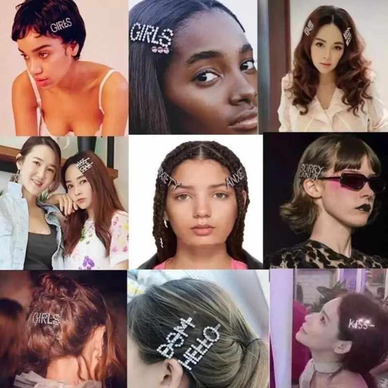 hair clip women womens hair clips Huruf Jepit Rambut Kristal Rhinestone Berkilau Kata Klip Rambut Forgirl Bintang Rambut Klip Bos Rambut Klip Hairdryer Diamond Bling Pin Rambut