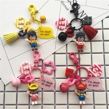 2019 Arale Japanese Cartoon Girl Keychain Model Miniature Key Ring Action Figures Anime Dr slump Mini Dolls Figurines Keychains