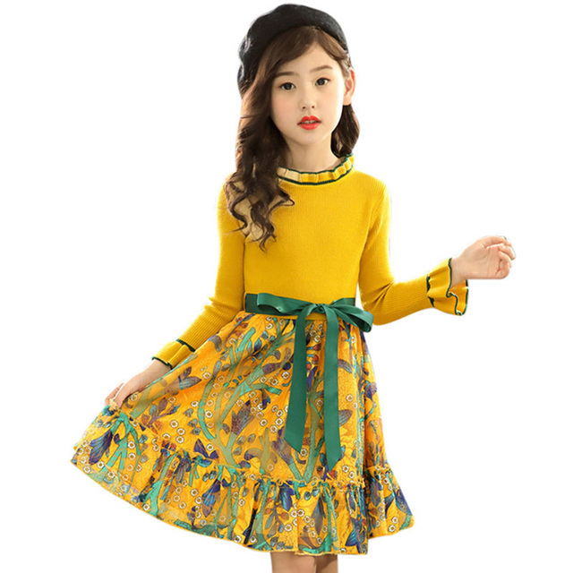 Girls Knitted Dress Autumn Winter Girls Dress Floral Pattern Girls Party Dress Kids Teenage Clothes For Girls 6 8 10 12 13 14