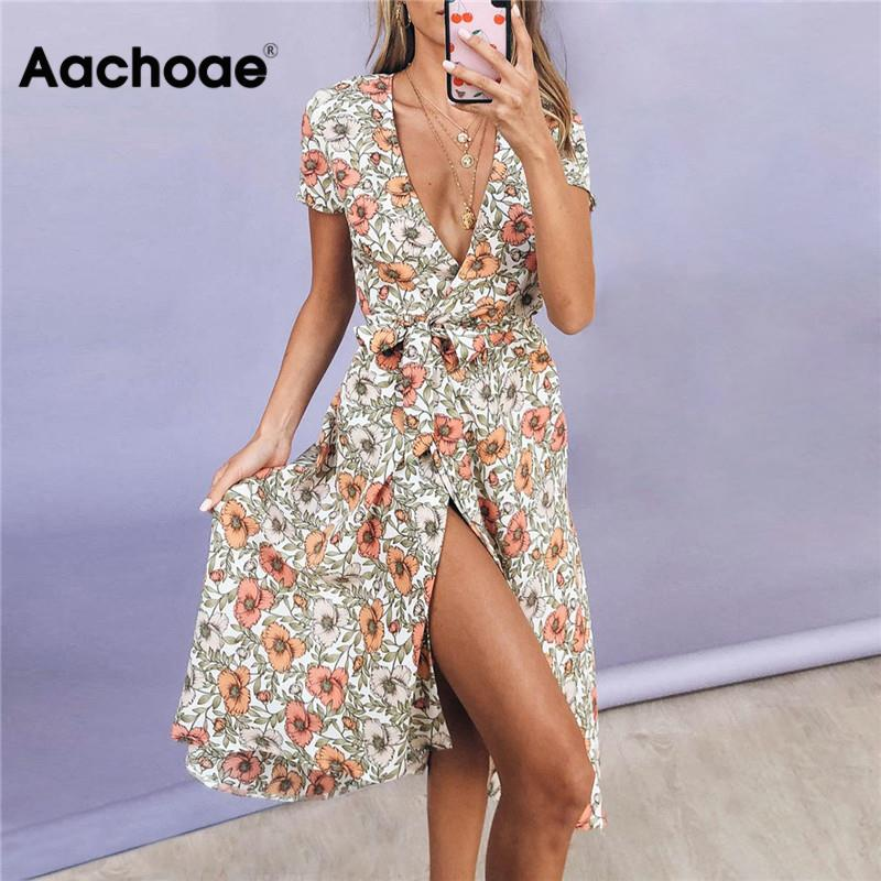 Sexy Deep V-neck Long Dress Summer Women Boho Floral Printed Beach Dress High Split Elegant Party Dress Short Sleeve Dresses