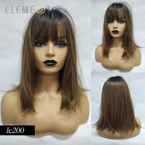 Image 5 - Element 16 Inch Synthetic Wig With Bangs Natural Headline Ombre Brown Color Fashion Cosplay Party Replacement Wigs for Women