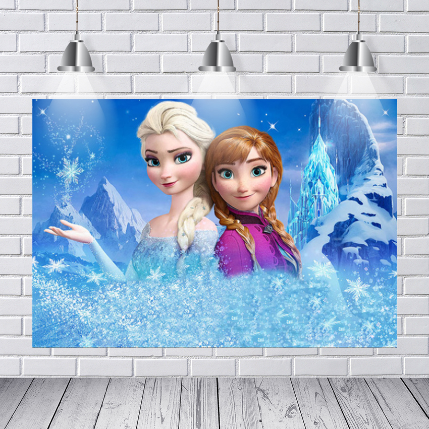 Photography Background Queen Elsa with Anna with Friends Fairy Tale Ice World Backdrops for Kids Birthday Photocall Photo Prop image