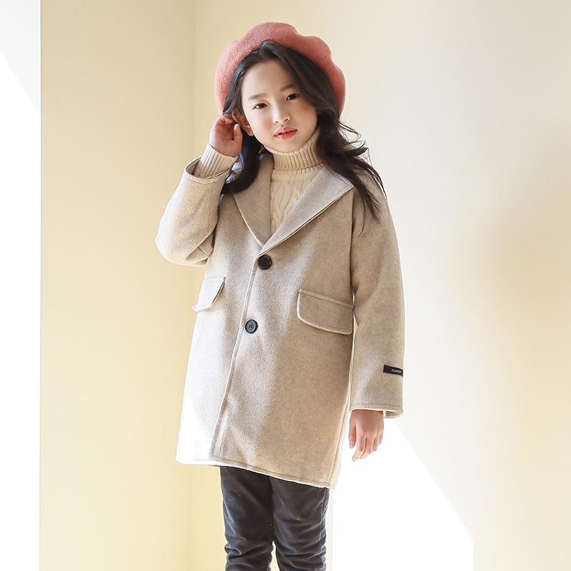 2019 New Big Girls Jackets Winter Wool Coat Teens Girls Autumn Overcoat Fashion Warm Outerwear Children Button Outerwear