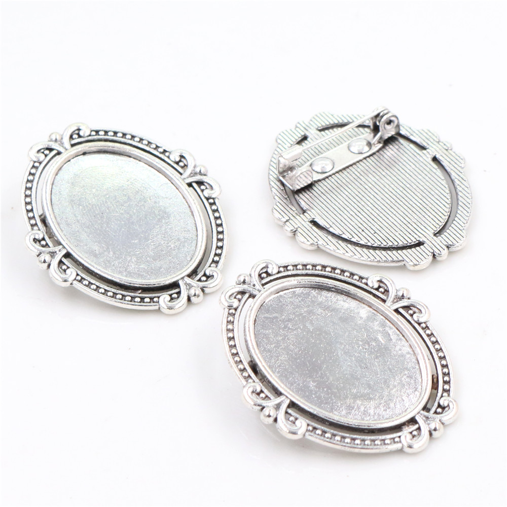 5pcs 18x25mm Inner Size Antique Silver Plated Brooch Pin Classic Flower Style Cameo Cabochon Base Setting Tray-C1-39