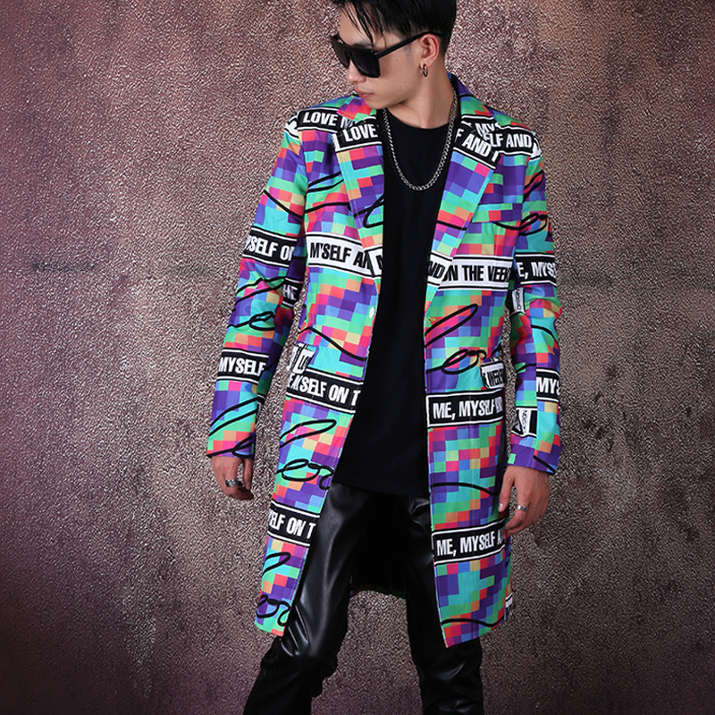 Men Personality Printing Single Button Casual Blazer Jacket Male Vintage Fashion Streetwear Hip Hop Loose Suit Coat Outerwear