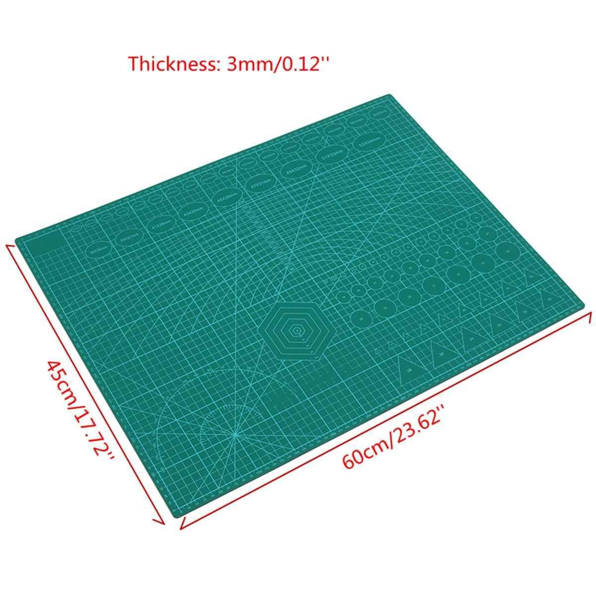 3 Mm A2 PVC Cutting Mat Cutting Pad Patchwork Double Dicetak Self Healing Cutting Mat Kerajinan Merajut Scrapbooking Papan 45X60 Cm